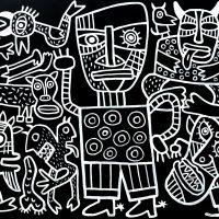 """A Festa dos Monstros"", 2019, acrílico sobre aglomerado de madeira, 104x83cm [INDISPONÍVEL/UNAVAILABLE]"