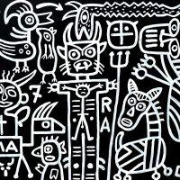 """""""Crucificado no Diabo"""", 2019, acrílico sobre aglomerado de madeira, 104x83cm [INDISPONÍVEL/UNAVAILABLE]"""