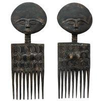 """""""Par de Pentes"""", Ashanti, Gana, século XX, madeira, 16x42x4cm"""