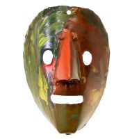 """""""Máscara de Rituais de Inverno"""", Fernando Tiza, Varge, Bragança, 2019, metal pintado, 16x21x10cm"""