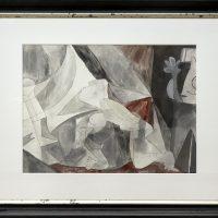 """""""Half Guernica"""", 2018, caneta e aguarela sobre papel, 74x55cm, 111x92cm (moldura)"""