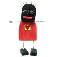 """""""Menina do Coração e Braços Abertos"""", 2020, madeira pintada, chapa metálica, alumínio, porcas, pregos, 22x32x8cm [INDISPONÍVEL / UNAVAILABLE]"""