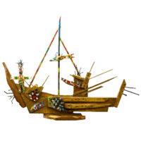 """""""Barco com Homem e Peixes"""", 2011, acrílico sobre madeira, outros, 65x51x10cm – CCI-102"""