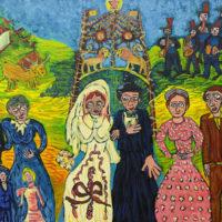 """""""Casamento na Aldeia"""" (a partir de Sarah Afonso), 2020, óleo sobre tela, 100x70cm"""