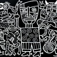 """A Festa dos Monstros"", 2019, acrílico sobre aglomerado de madeira, 104x83cm [INDISPONÍVEL / UNAVAILABLE]"