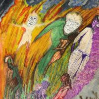 """""""Fire Dance"""", 2015, técnica mista sobre papel, 42x60cm – CCZB17-003"""