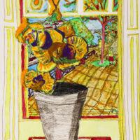 """""""Van Gogh com Vaso de Flores"""", 2013, técnica mista sobre papel, 42x60cm – CCZB17-002"""