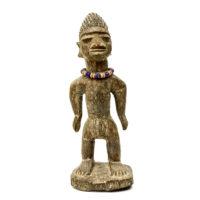Figura Gemelar Ibeji, Yoruba, Nigéria, Séc. XX, madeira, contas, 8x21x7cm – CC20-112