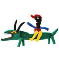 O Rapaz do Dinoçáuro, 2018, Acrílico sobre madeira e objectos, 63x36x6cm – CCID20-105