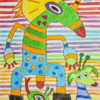 Monstros, 2020-07-27, Acrílico sobre cartolina, 30x42cm – CCID20-101
