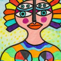 Mulher dos Olhos Encantadores, 2020, Acrílico sobre cartolina, 30x42cm – CCID20-098