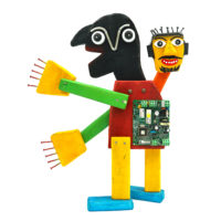 """""""Robot de Duas Cabeças"""", 2019, Madeira pintada, outros, 38x45x12cm – CCID21-003"""