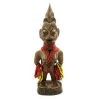 Figura Gemelar Ere Ibeji Feminina, Yoruba, Nigéria, Séc. XX, madeira, pigmentos, 9x26x8cm – REF CC21-002