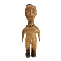 Figura Gemelar Venavi Masculina, Ewe, Gana, Séc. XX, madeira pintada, 10x24x6cm – REF CC21-013