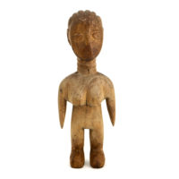 Figura Gemelar Venavi Feminina, Ewe, Gana, Séc. XX, madeira pintada, 8x22x6cm – REF CC21-034