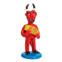 Diabo com Acordeão, Maria dos Anjos, Galegos, Barcelos, 2021, Barro pintado, 9x22x10cm – Ref CCP21-068