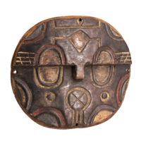 Máscara placa Kidumu, Teke, R.D. Congo, Séc. XX, madeira, pigmentos, 29x25x7cm – Ref CCT21-063