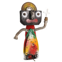 Santo António do Ferro Velho, 2019, madeira, objectos metálicos vários pintados, 28x41x8cm – Ref CCID19-024