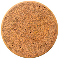 Sem título, 2020, caneta sobre tampo de mesa de madeira, 60x60x3cm – Ref CCMP21-030