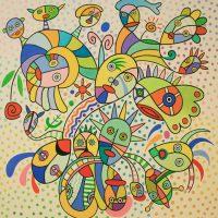 """""""Festival de Máscaras"""", 2010, óleo sobre tela, 90x90cm [INDISPONÍVEL / UNAVAILABLE]"""