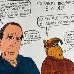 """Filipe Cerqueira, """"Orlando Drummond Cardoso e o Alf"""", 2015, Acrílico sobre papel, 70x50 [INDISPONÍVEL / UNAVAILABLE]"""
