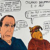 """""""Orlando Drummond Cardoso e o Alf"""", 2015, acrílico sobre papel, 70x50cm [INDISPONÍVEL / UNAVAILABLE]"""