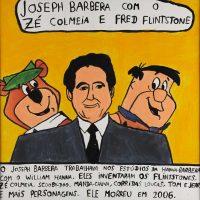 """""""Joseph Barbera com o Zé Colmeia e o Fred Flintstone"""", 2015, acrílico sobre papel, 30x30cm [INDISPONÍVEL / UNAVAILABLE]"""