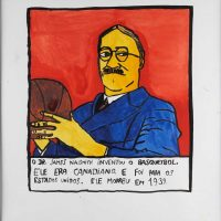 """Dr. James Naismith"", 2014, acrílico sobre papel, 30x30cm [INDISPONÍVEL / UNAVAILABLE]"