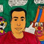 """Filipe Cerqueira, """"Filipe Cerqueira com o Manda-Chuva e o Palhaço Batatinha"""", 2015, Acrílico sobre papel, 50x36 [INDISPONÍVEL / UNAVAILABLE]"""