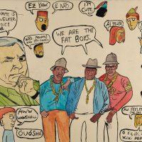 """Filipe Cerqueira, """"Frank Welker e os Fat Boys"""", 2015, Acrílico sobre papel, 44x35 [INDISPONÍVEL / UNAVAILABLE]"""
