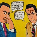 "Filipe Cerqueira, ""Edward G. Robinson e o Dick Van Dyke"", 2015, Acrílico sobre papel, 50x35 [INDISPONÍVEL / UNAVAILABLE]"