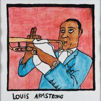 "Filipe Cerqueira, ""Louis Armstrong"", 2014, Acrílico sobre papel, 35x35 [INDISPONÍVEL / UNAVAILABLE]"