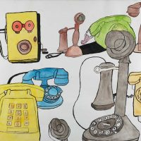 """Telefones"", 2015, acrílico e aguarela sobre papel, 70x50cm [INDISPONÍVEL / UNAVAILABLE]"