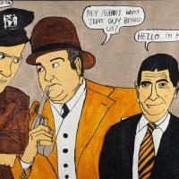 """Abbot e Costello com o Mr. Bean"", 2015, acrílico sobre papel, 70x50cm [INDISPONÍVEL / UNAVAILABLE]"