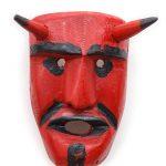 Tozé Vale, Máscara Diabo Vermelho, 2016, V.B. Ousilhão, Madeira, tintas, 12x18